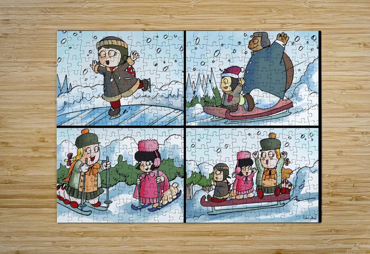 Winter Wonderland Fun   Ice Skating  Sledding and Tobogganing   4 panel Favorites for Kids Room and Nursery   Bugville Critters  HD Metal print with Floating Frame on Back