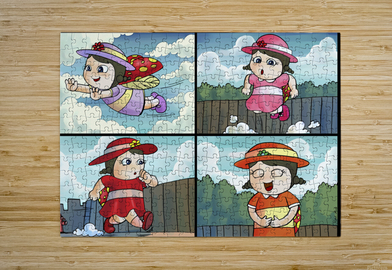 Lass the Ladybug on the Go   4 panel Favorites for Kids Room and Nursery   Bugville Critters  HD Metal print with Floating Frame on Back