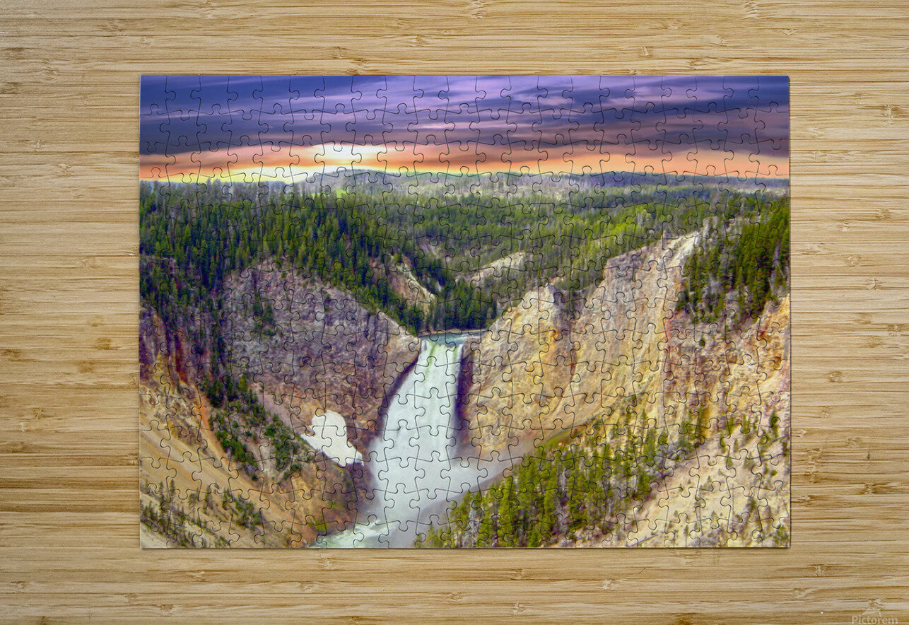 Grand Canyon of Yellowstone - The Falls in the Waning Light of Day - Yellowstone National Park at Sunset  HD Metal print with Floating Frame on Back