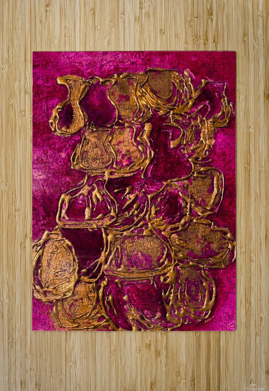 JARS - Original Abstract Acrylic Paint Printed on Canvas by: Rebecca Mangalindan  HD Metal print with Floating Frame on Back