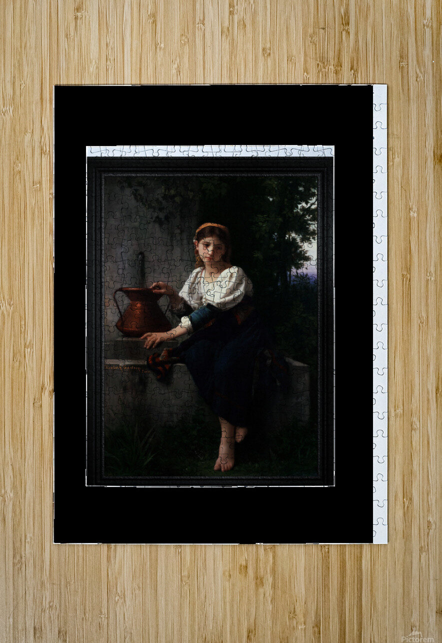 Young Girl Gathering Water At The Fountain by Elizabeth Gardner Classical Fine Art Xzendor7 Old Masters Reproductions  HD Metal print with Floating Frame on Back