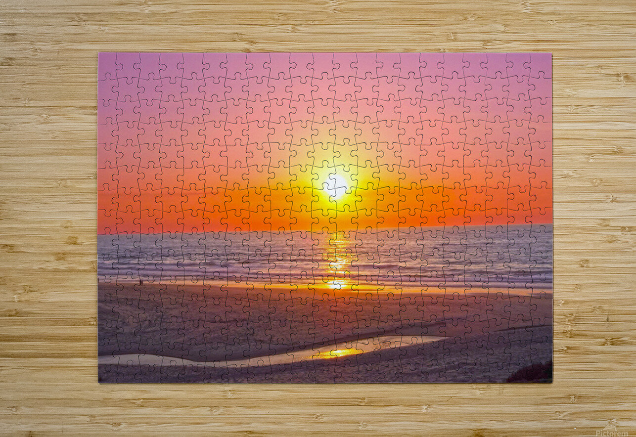 Serenity Found - Calming Atlantic Sunset in Portugal  HD Metal print with Floating Frame on Back