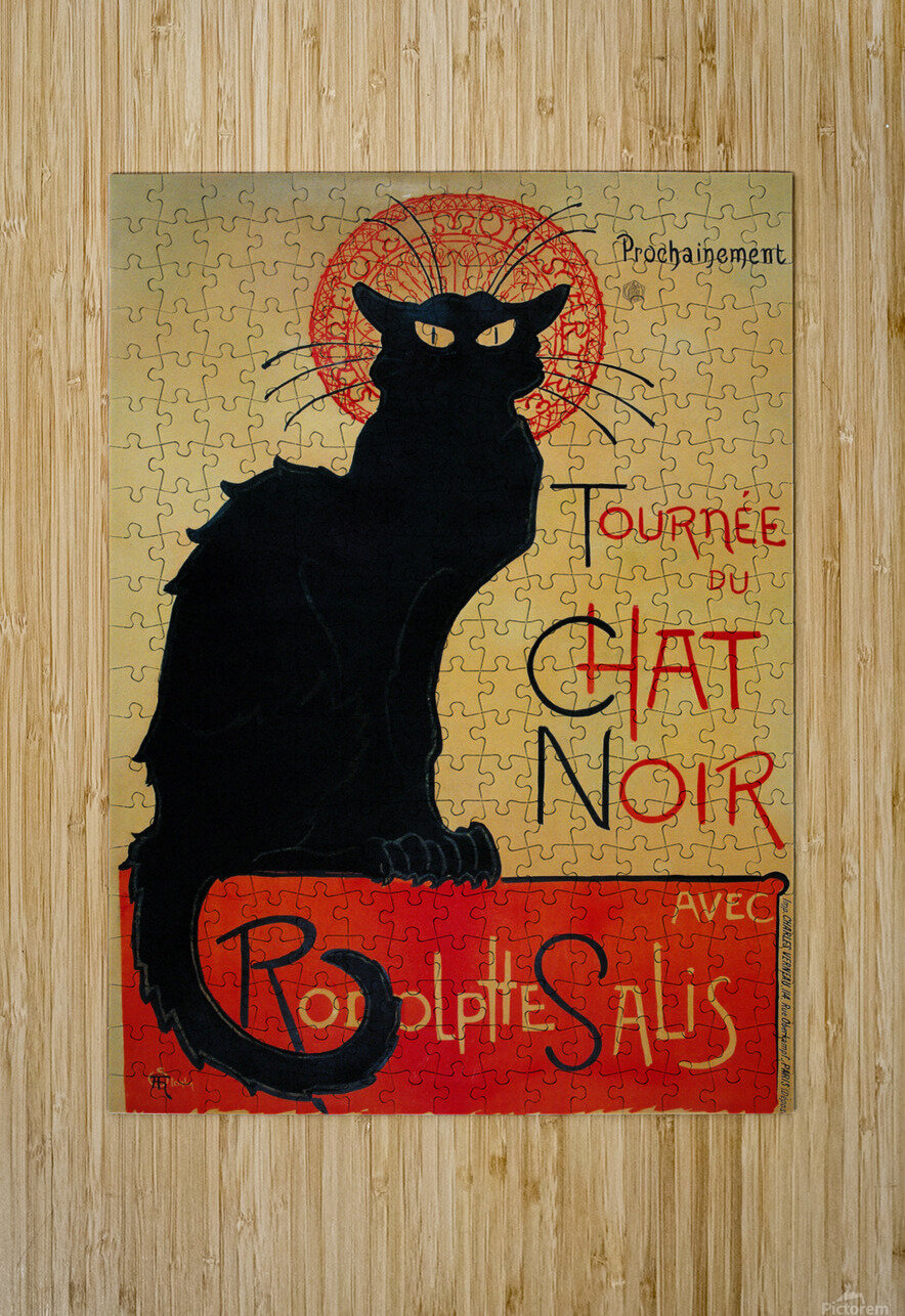 Theophile Steinlen - Tournee du Chat Noir  HD Metal print with Floating Frame on Back