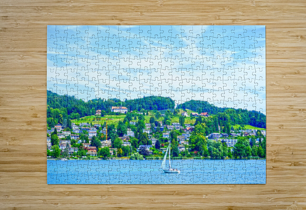 Sailboat On Lake Lucerne with Alpine Village in Background  HD Metal print with Floating Frame on Back