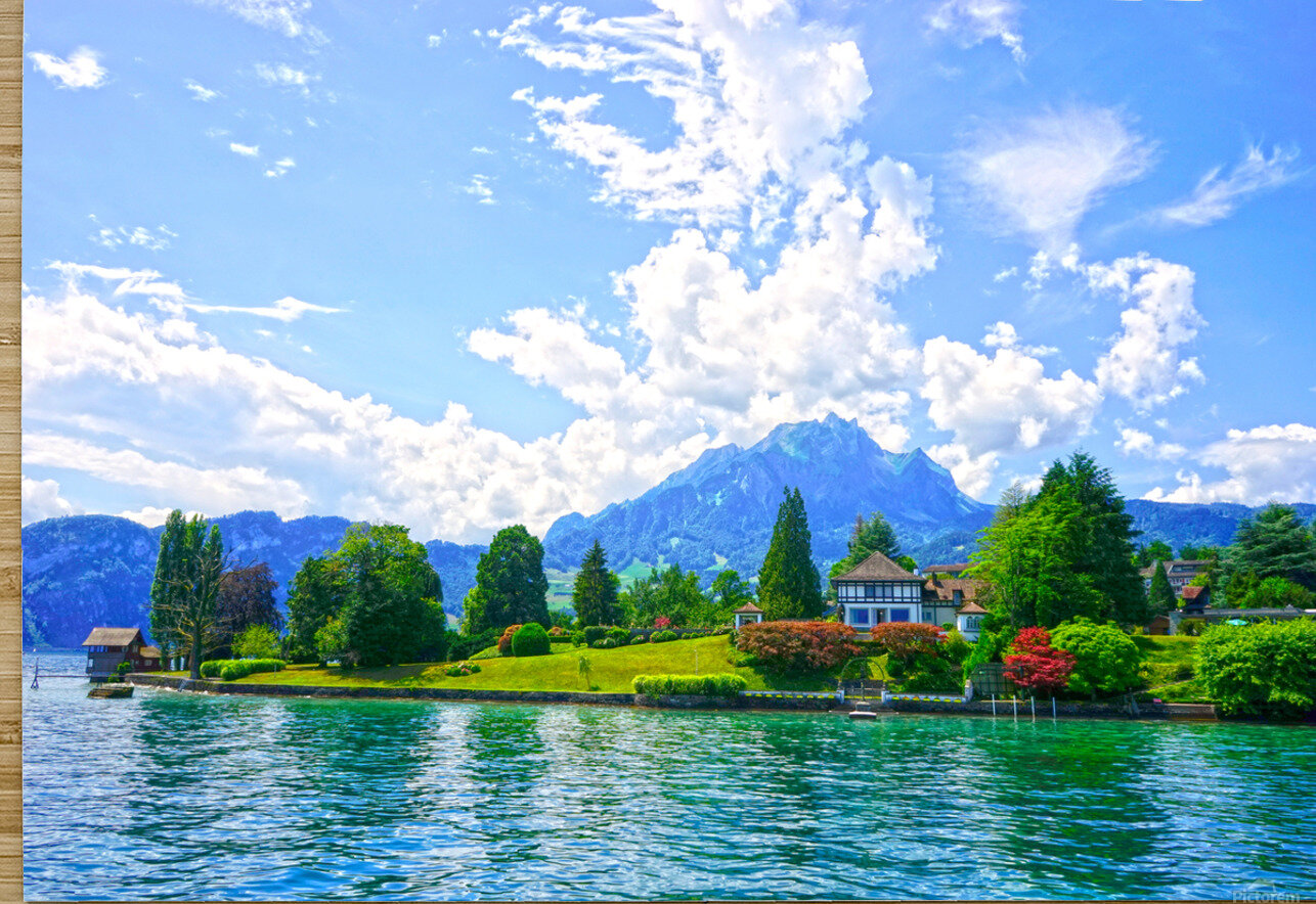 Perfect Day on the shores of Lake Lucerne Switzerland  HD Metal print with Floating Frame on Back