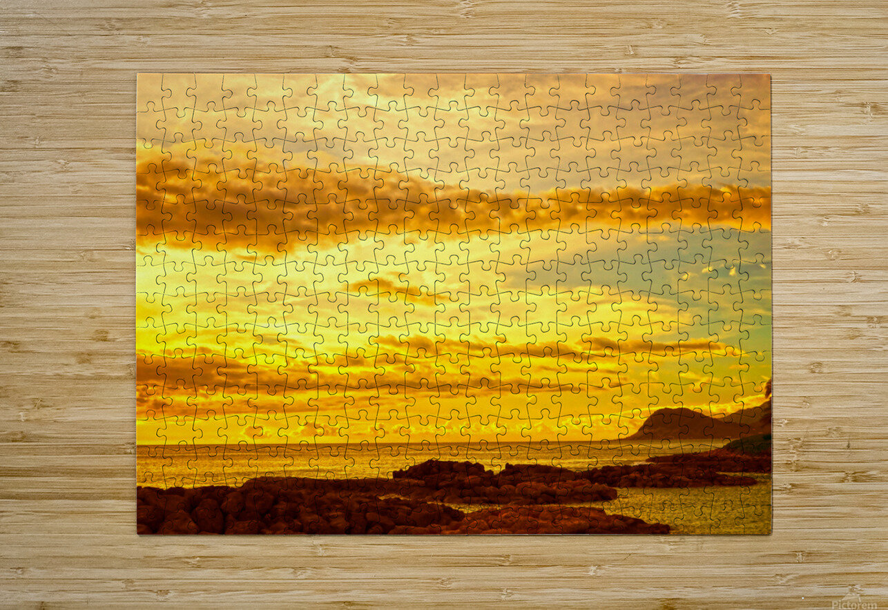 Sunset in Paradise   South Seas  HD Metal print with Floating Frame on Back