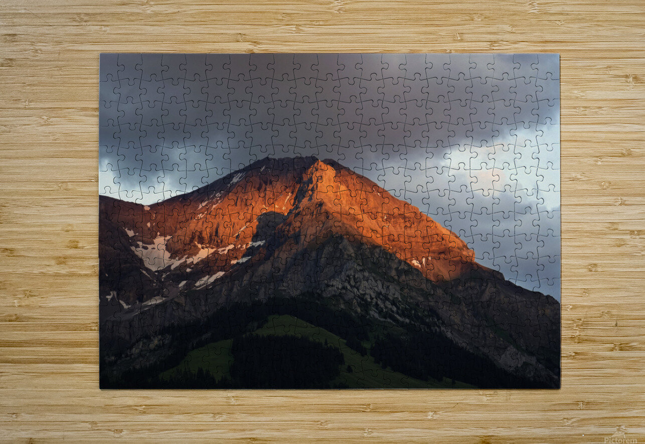 Mountain Bathed in the Golden Rays of the Sun at Sunset in Switzerland 3 of 3  HD Metal print with Floating Frame on Back