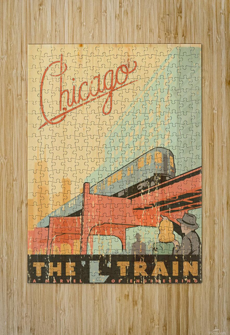 Chicago L Train Vintage Art Poster  HD Metal print with Floating Frame on Back