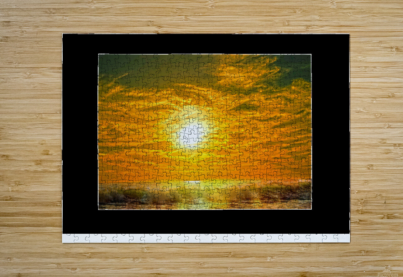 Wild Waves Break as the Sun Sets over Catalina Island in Newport Beach California  HD Metal print with Floating Frame on Back