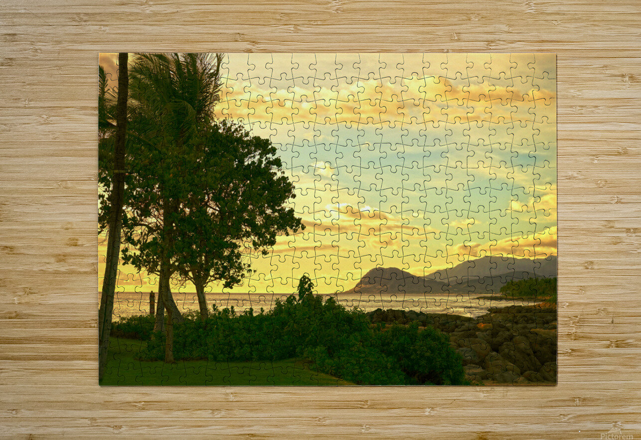 Sunset over the Bay Oahu Hawaii  HD Metal print with Floating Frame on Back