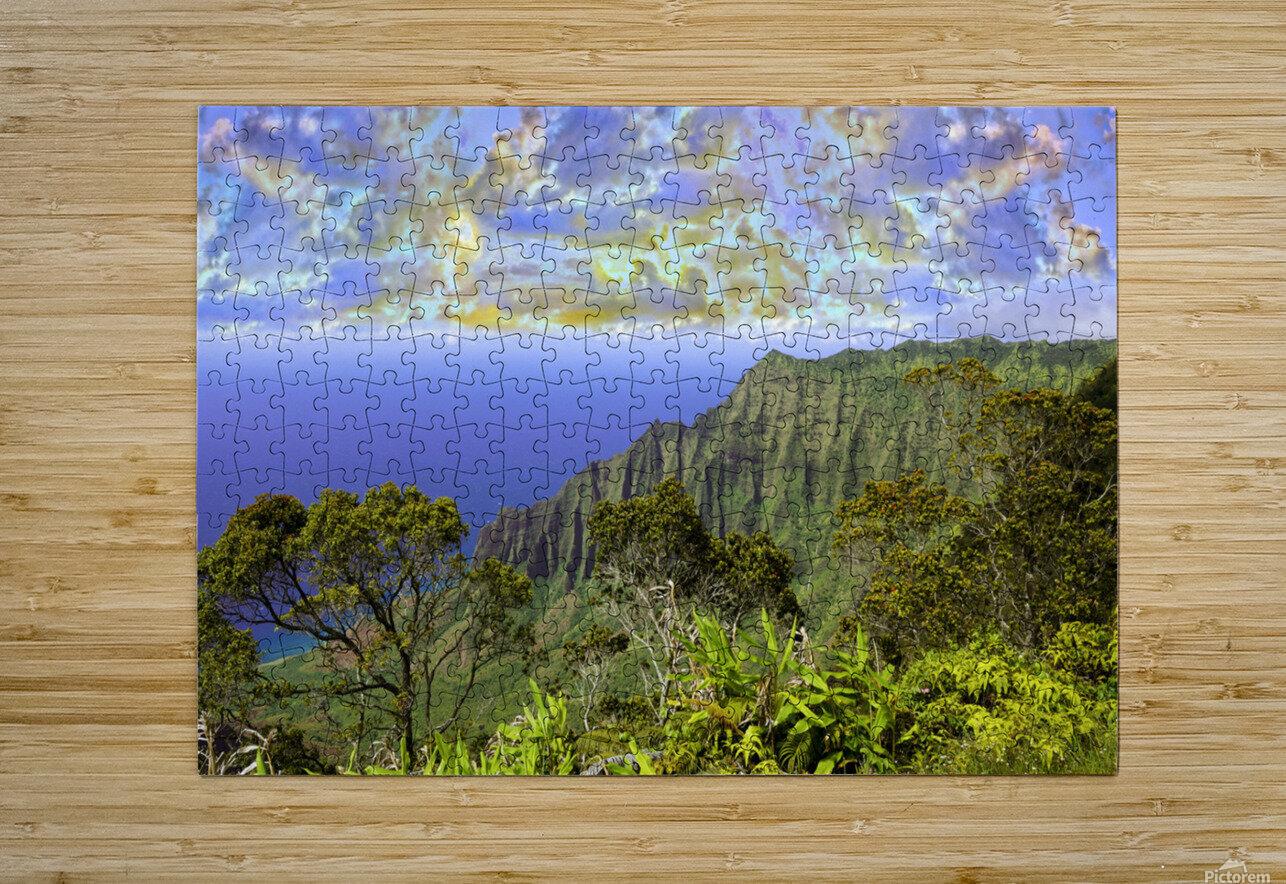 Sunset at Puu O Kila Lookout Kohala Mountains on the Island of Kauai in Hawaii Panorama  HD Metal print with Floating Frame on Back