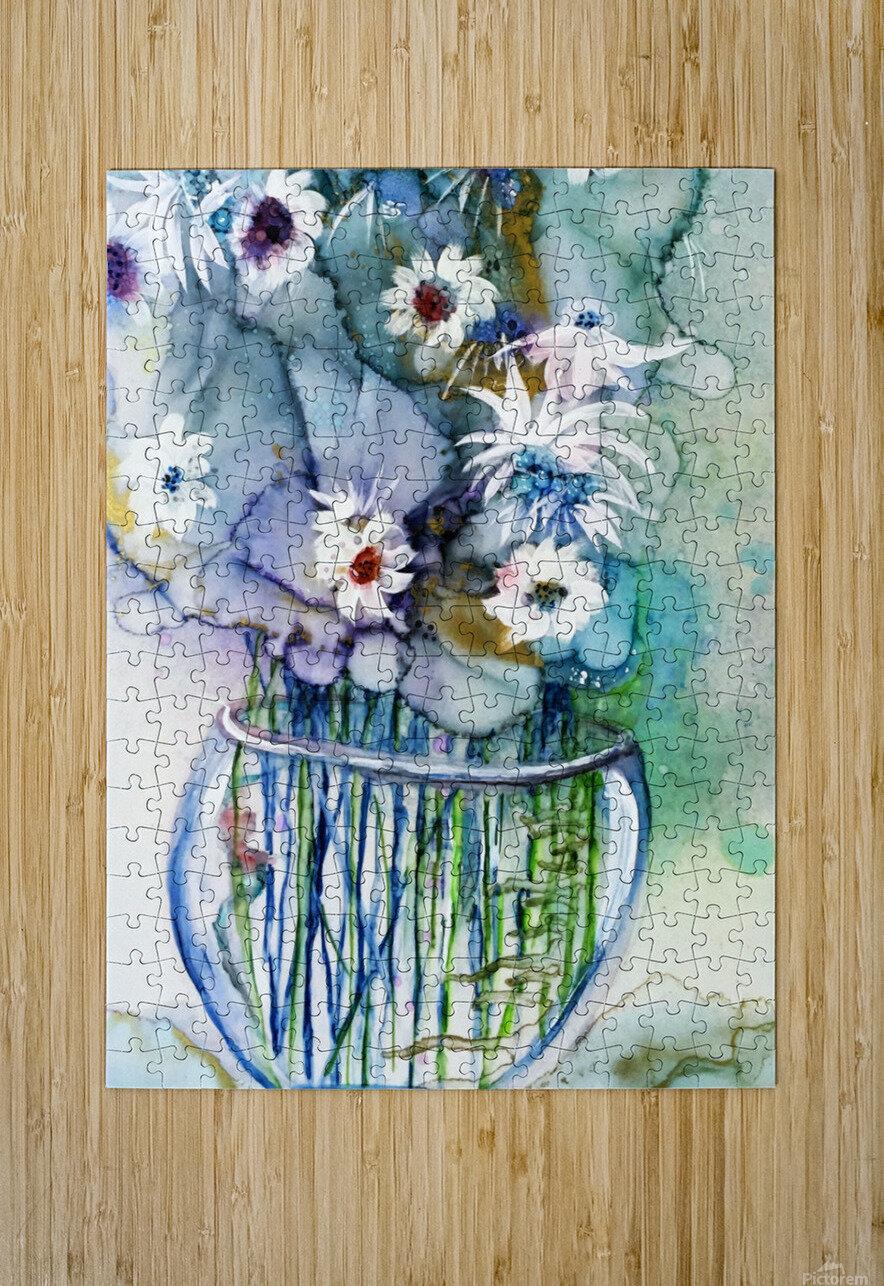 Blue Floral  HD Metal print with Floating Frame on Back