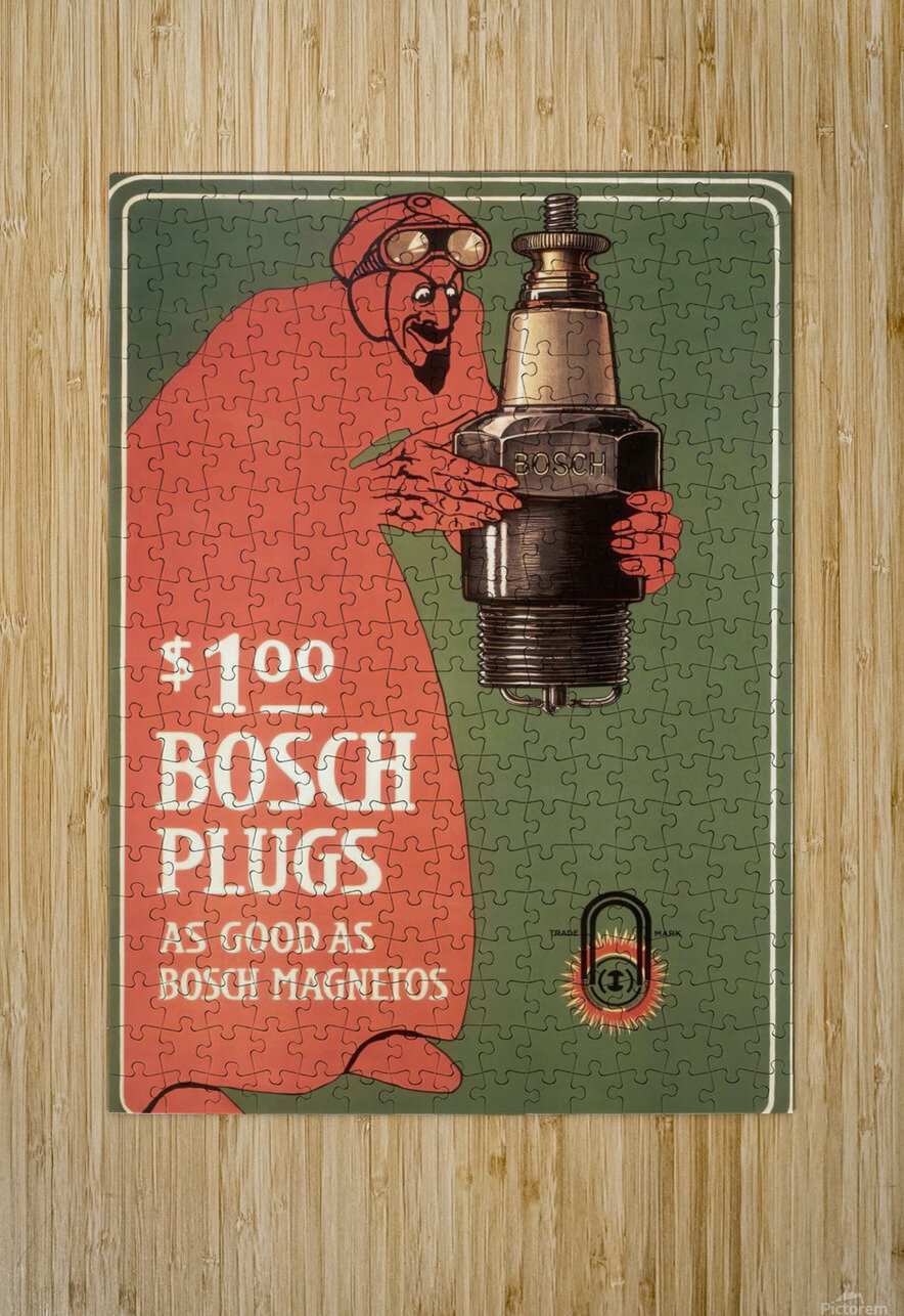 Vintage Bosch Spark Plugs Advertising Poster  HD Metal print with Floating Frame on Back