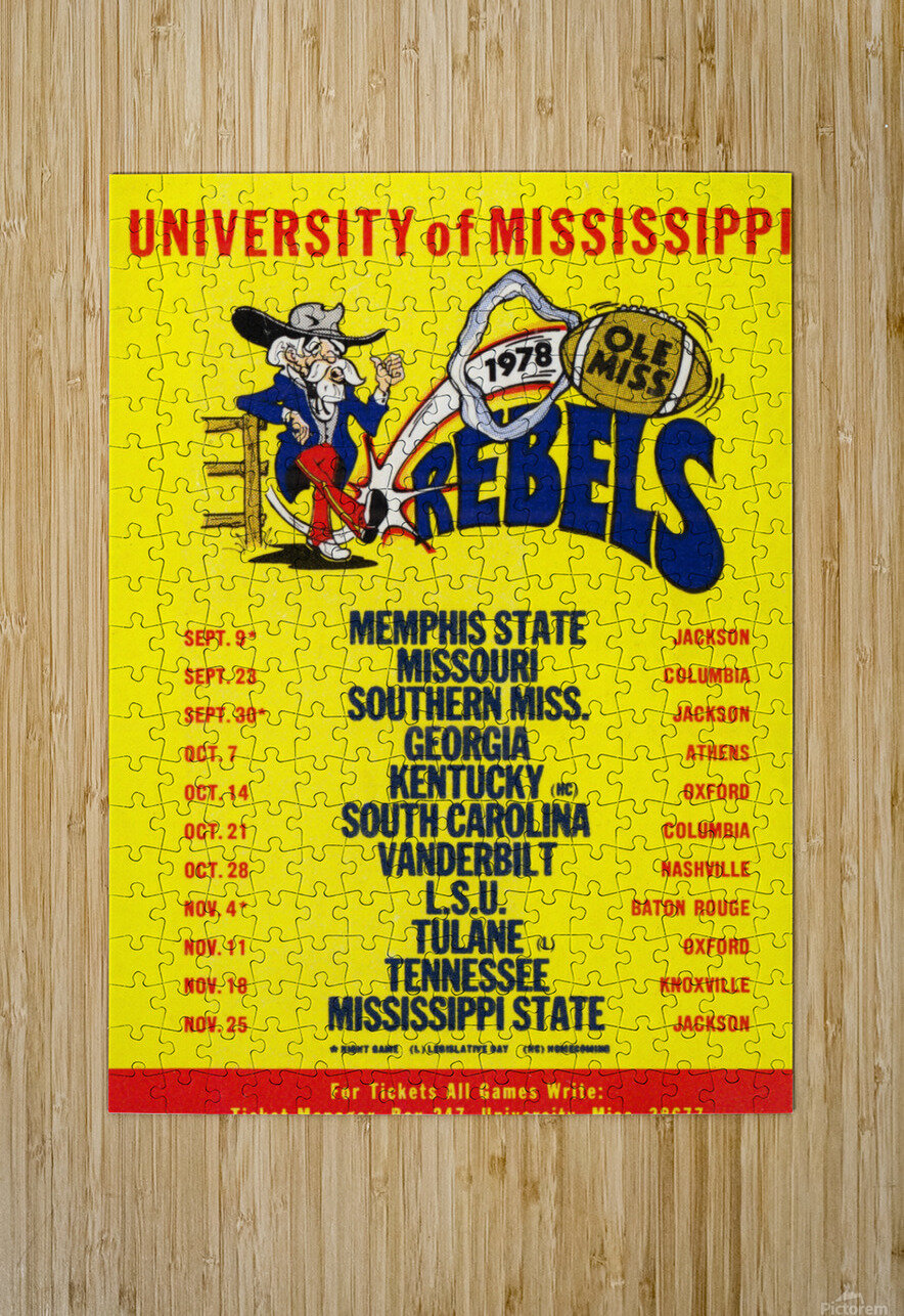 1978 Ole Miss Football Schedule Art  HD Metal print with Floating Frame on Back