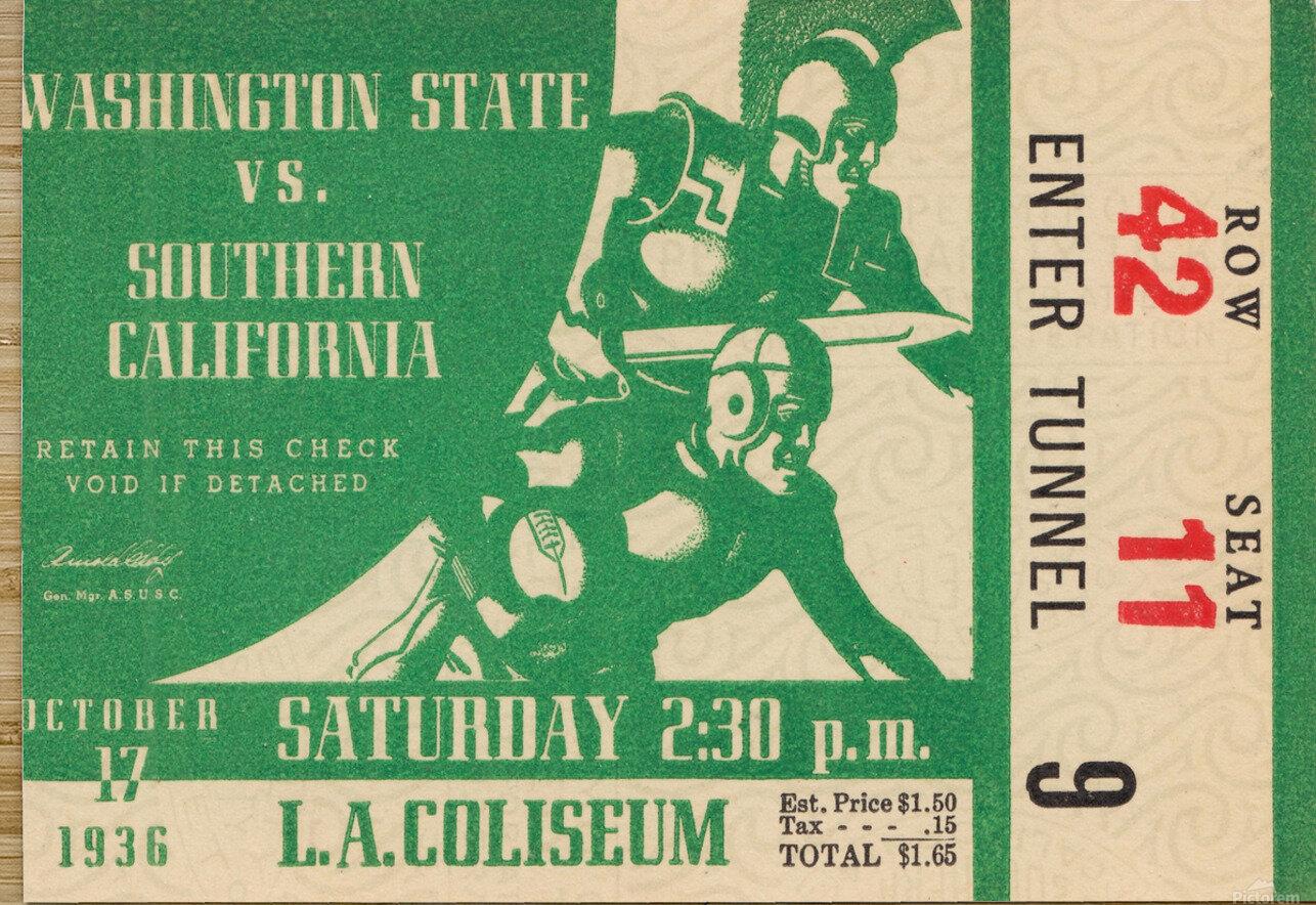 1936 Washington State Cougars vs. USC Trojans  HD Metal print with Floating Frame on Back
