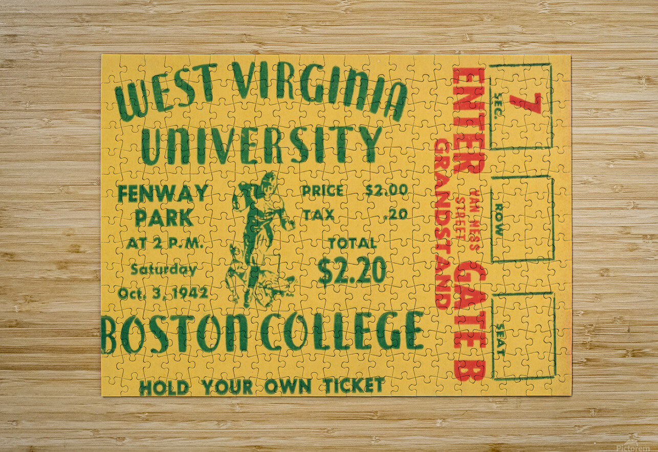 1942 Boston College Eagles vs. West Virginia Mountaineers  HD Metal print with Floating Frame on Back