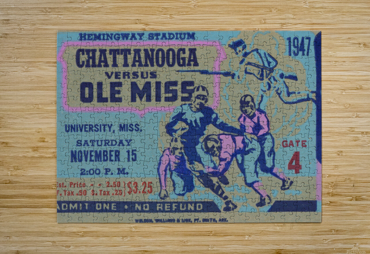 1947 Ole Miss Rebels vs. Chattanooga  HD Metal print with Floating Frame on Back