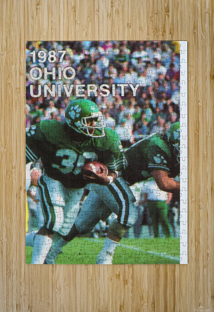1987 Ohio Bobcats Retro Football Poster  HD Metal print with Floating Frame on Back