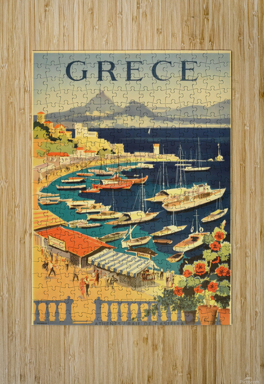 Greece original vintage travel poster  HD Metal print with Floating Frame on Back