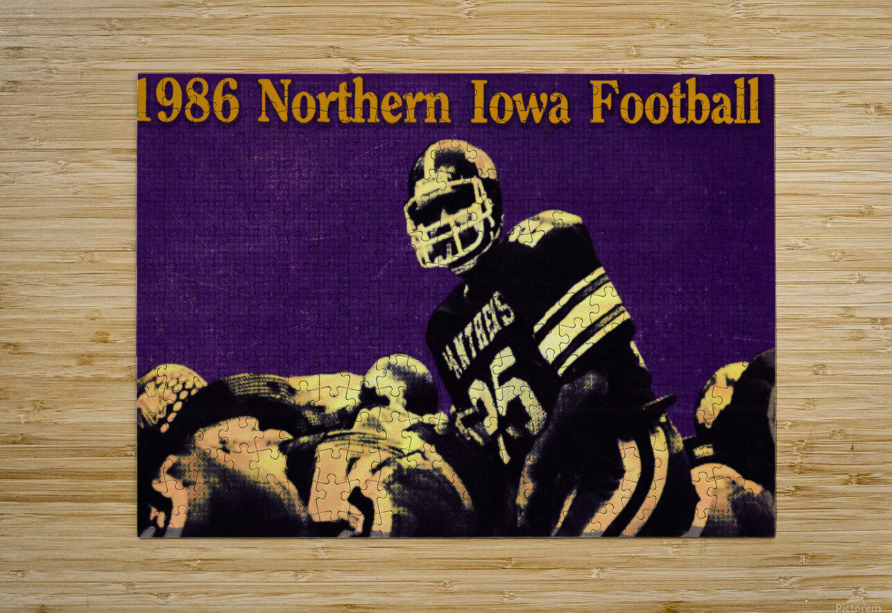 1986 Northern Iowa Panthers Football Poster  HD Metal print with Floating Frame on Back
