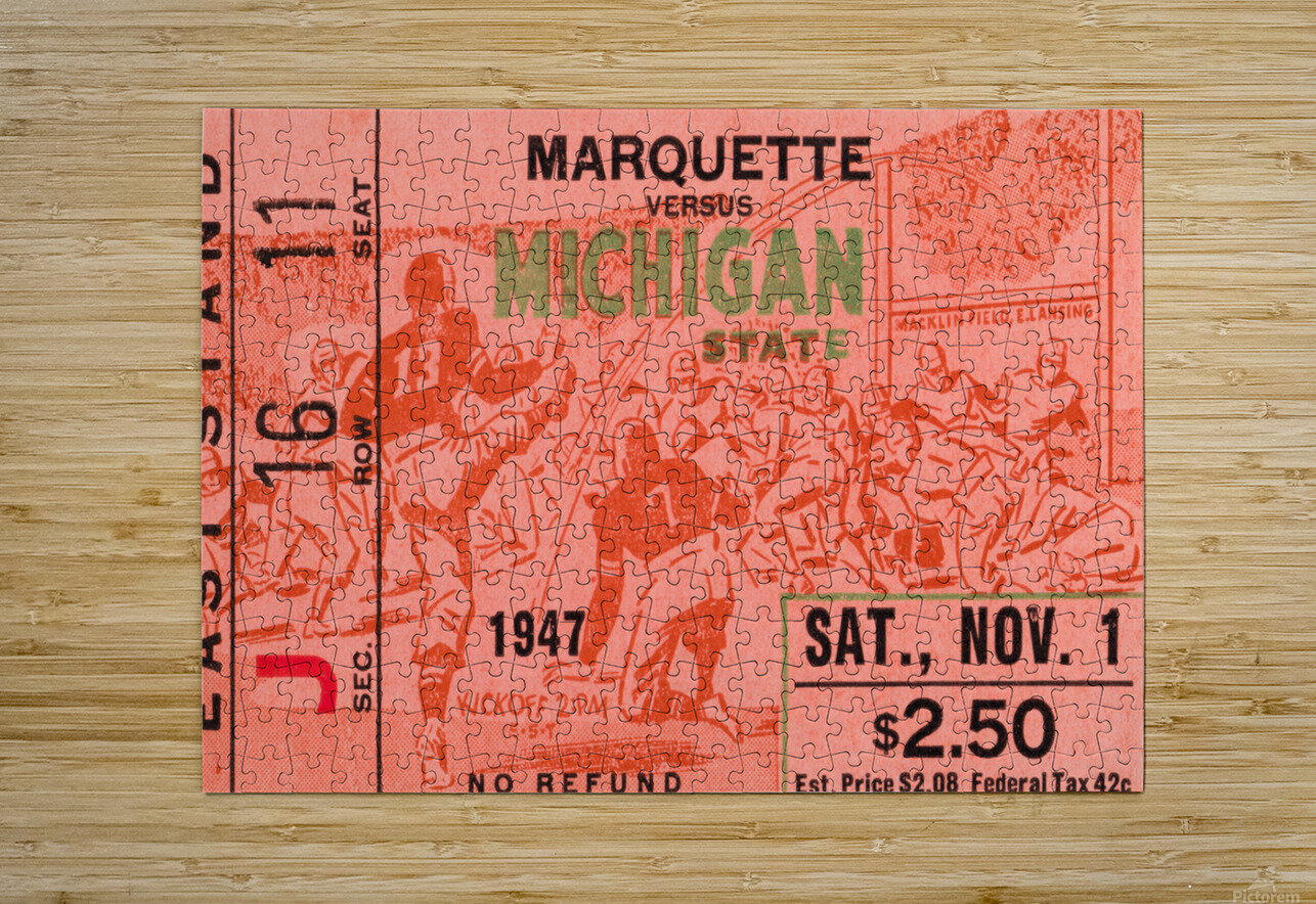 1947 Michigan State Spartans vs. Marquette Hilltoppers   HD Metal print with Floating Frame on Back