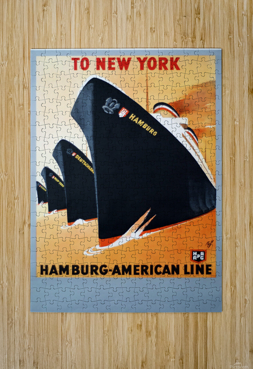 To New York Hamburg American Line travel poster  HD Metal print with Floating Frame on Back