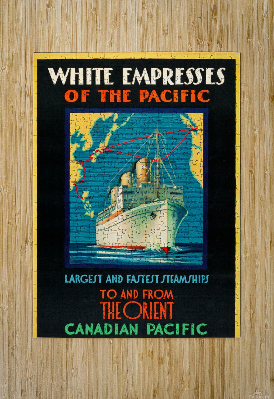 Canadian Pacific Travel Poster  HD Metal print with Floating Frame on Back