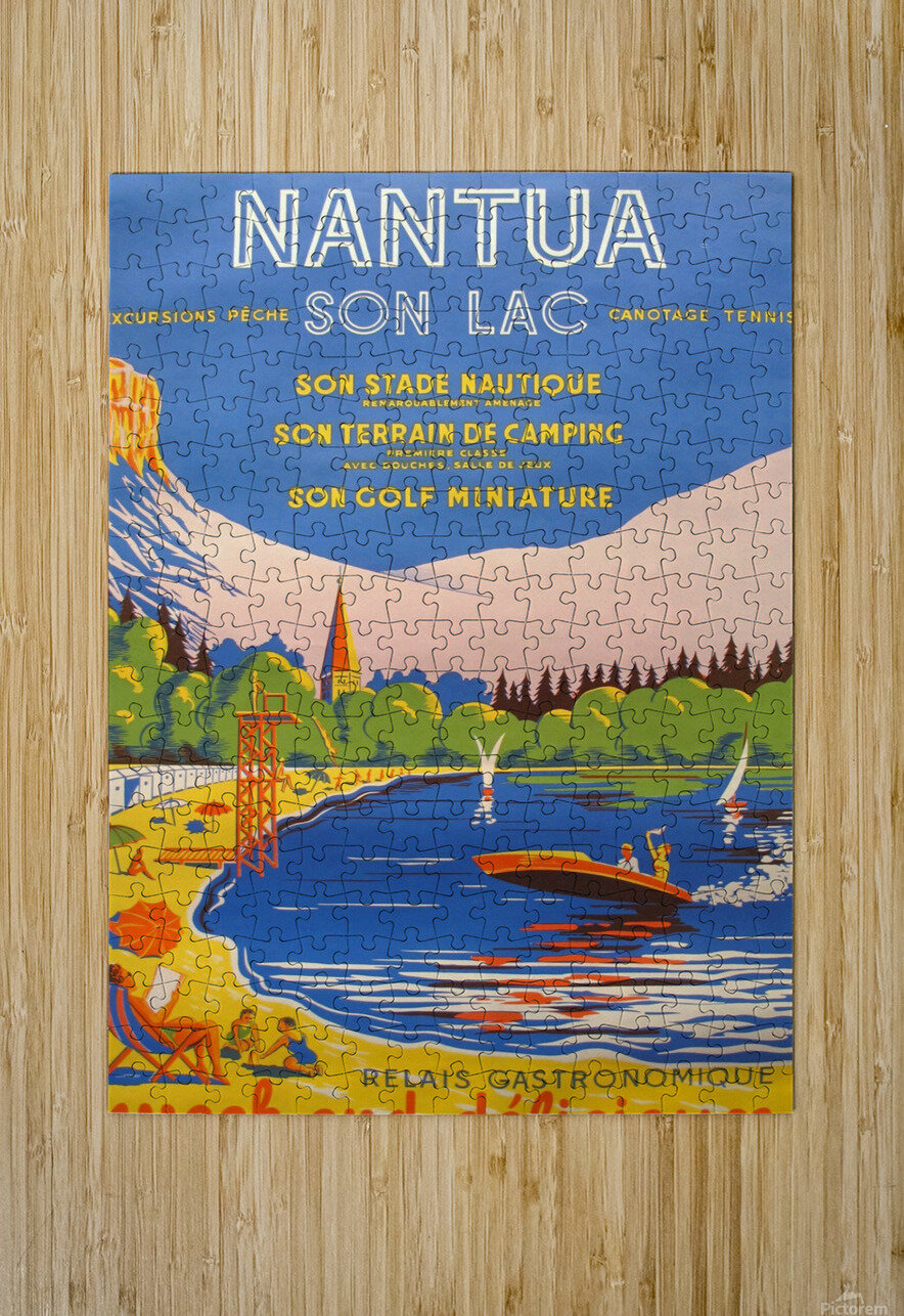 Vintage French Travel Poster for Nantua  HD Metal print with Floating Frame on Back