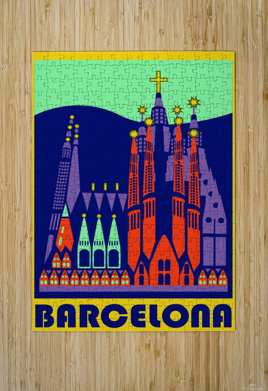 Barcelona travel poster  HD Metal print with Floating Frame on Back