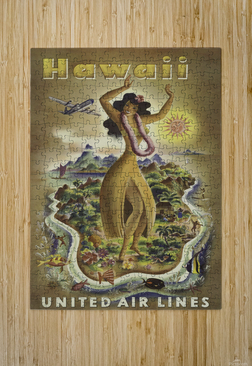 United Air Lines Hawaii Classic Travel Poster  HD Metal print with Floating Frame on Back