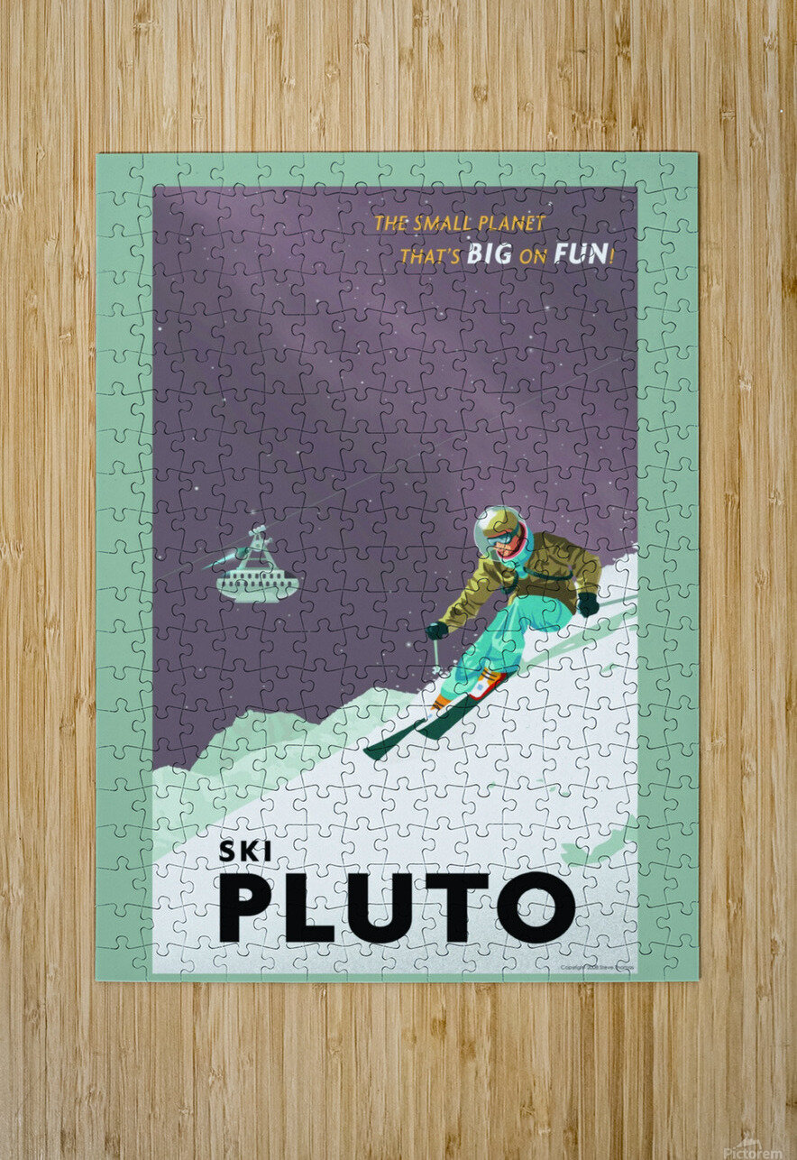 Ski Pluto poster  HD Metal print with Floating Frame on Back