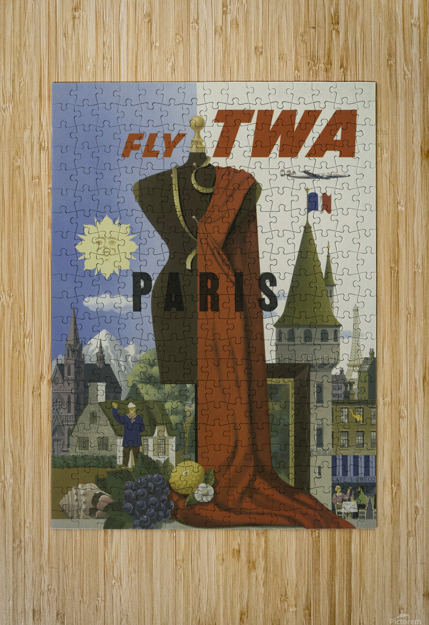 Fly TWA Paris Tourism Poster  HD Metal print with Floating Frame on Back
