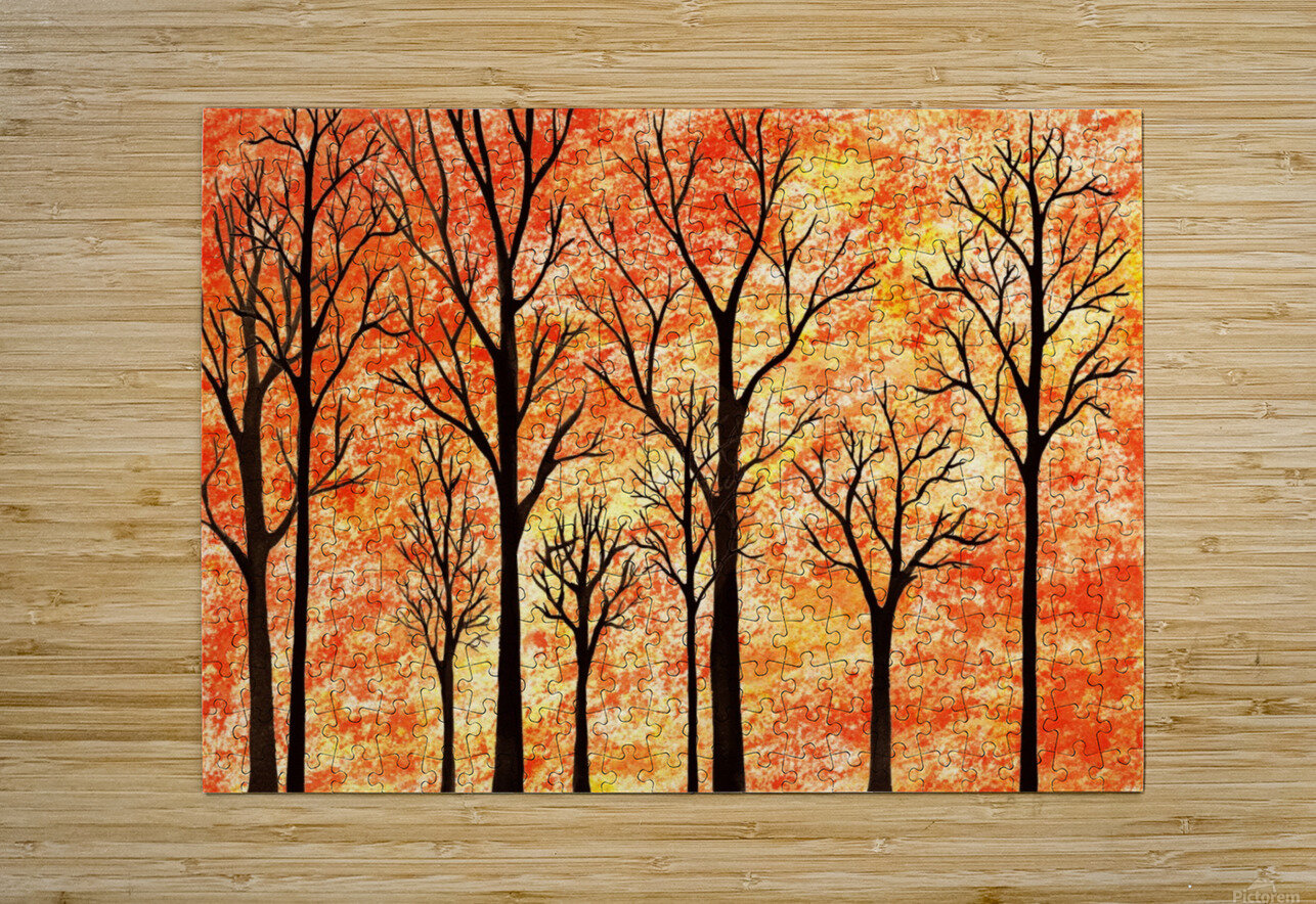 Autumn Forest Abstract   HD Metal print with Floating Frame on Back