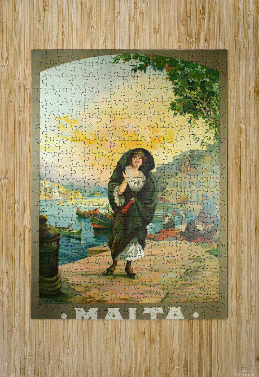 Original travel poster for Malta in 1900  HD Metal print with Floating Frame on Back