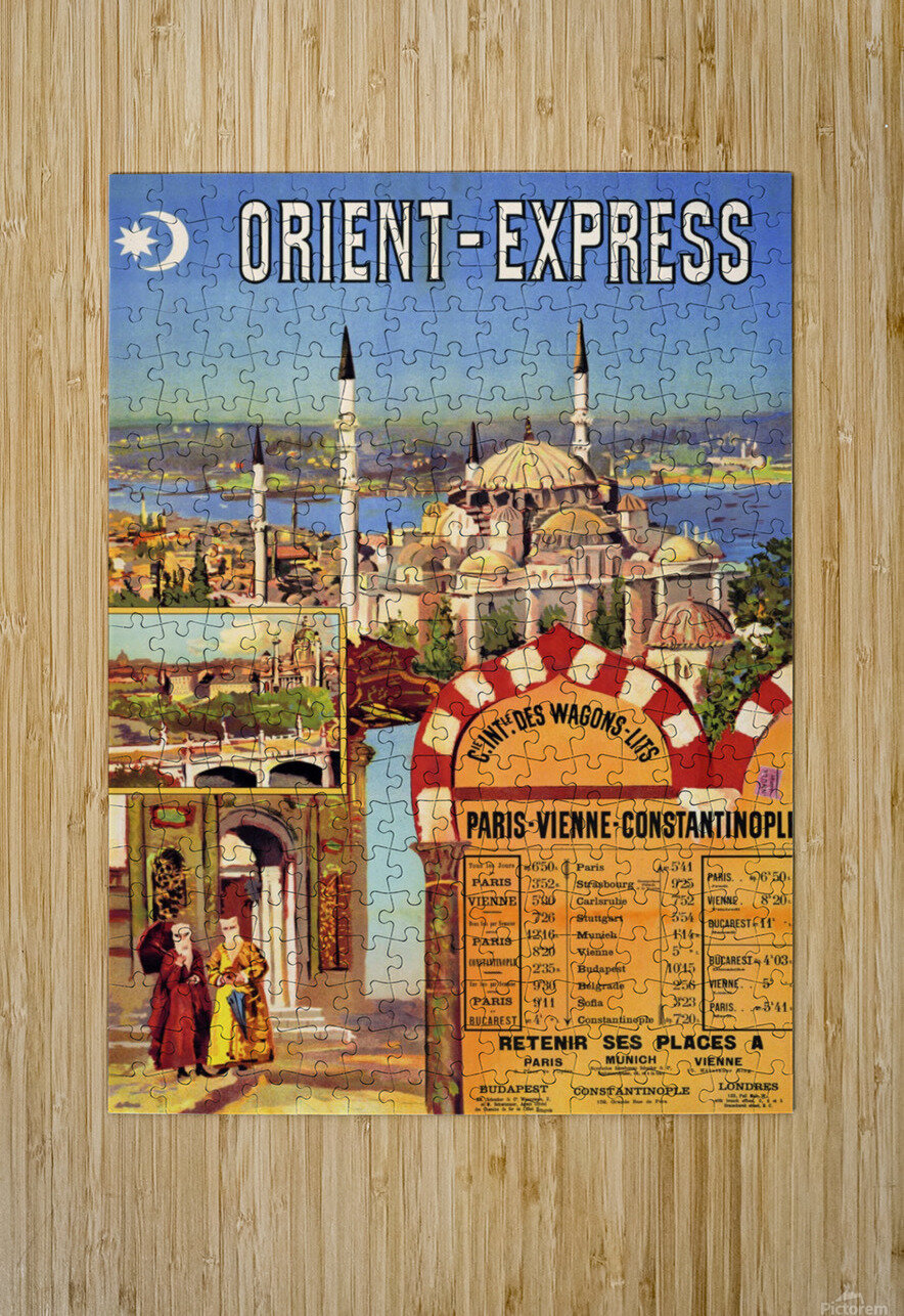 1891 Vintage Travel Poster Orient Express Ochoa y Madrazo  HD Metal print with Floating Frame on Back