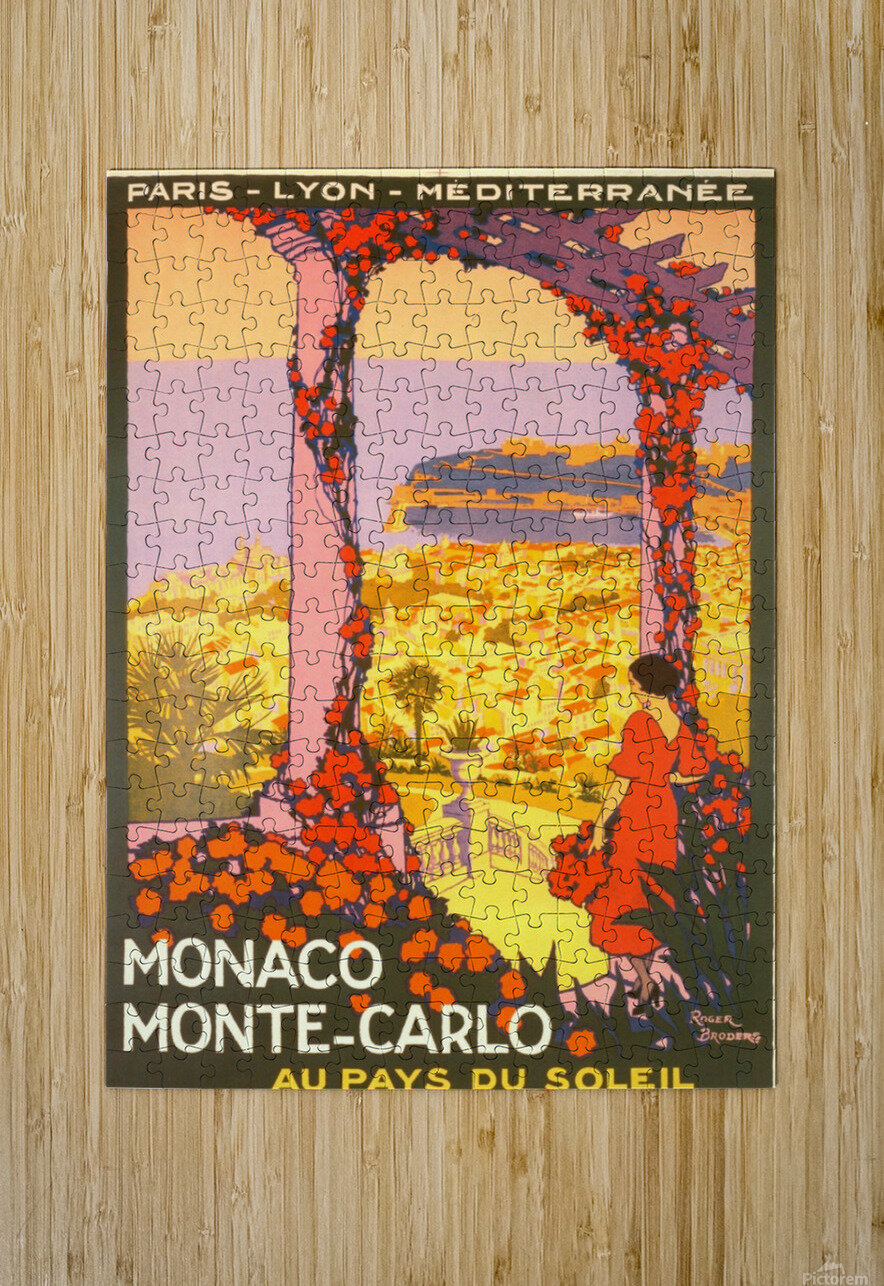 Monaco Monte Carlo 1920 vintage poster  HD Metal print with Floating Frame on Back