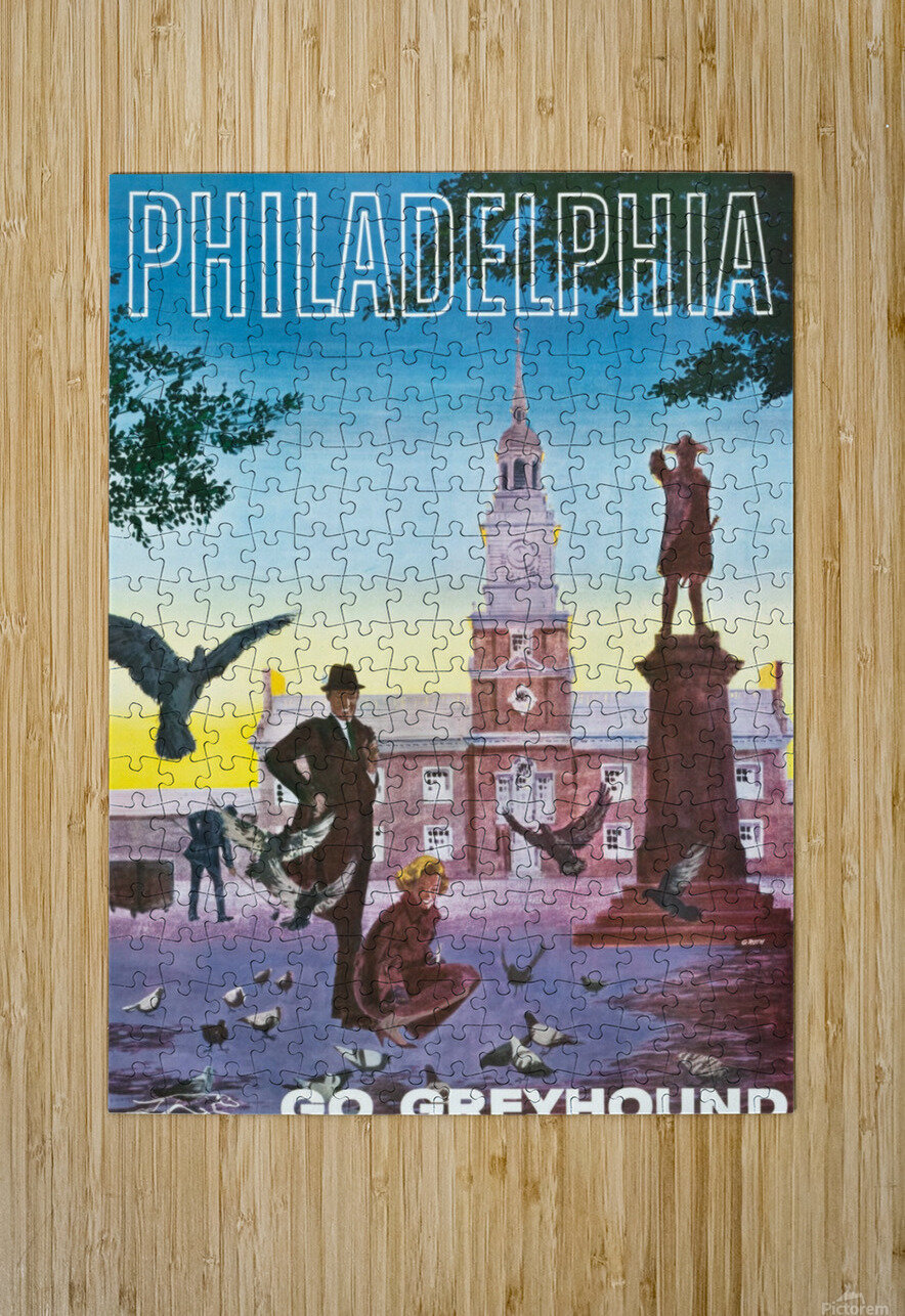 Greyhound Bus Travel Poster for Philadelphia  HD Metal print with Floating Frame on Back
