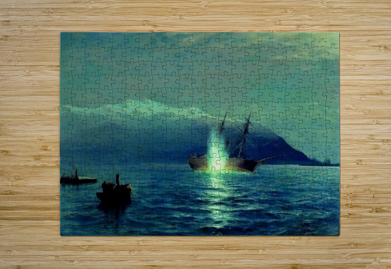The sinking of the Turkish steamer Intibakh  HD Metal print with Floating Frame on Back