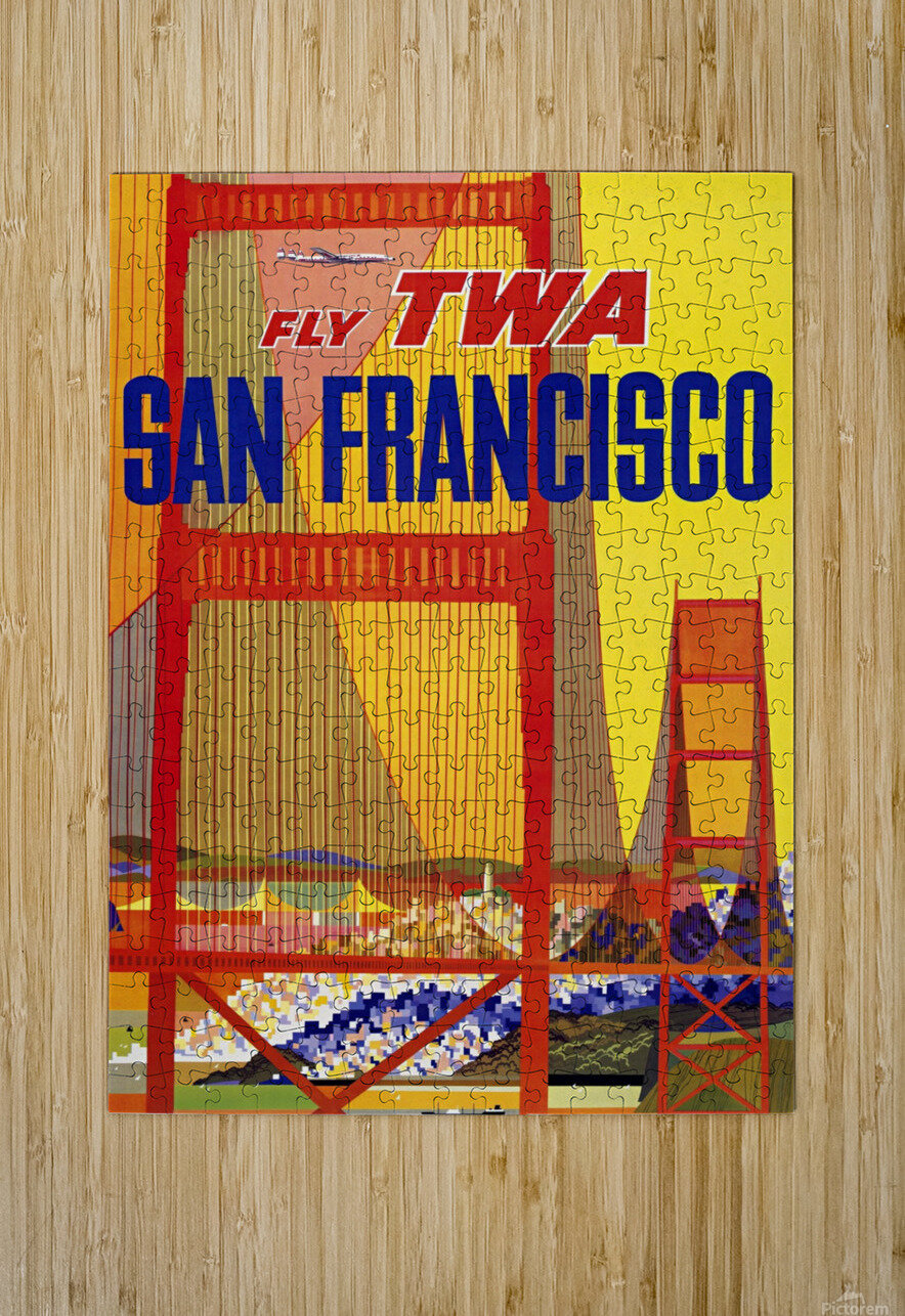 Fly TWA San Francisco poster  HD Metal print with Floating Frame on Back