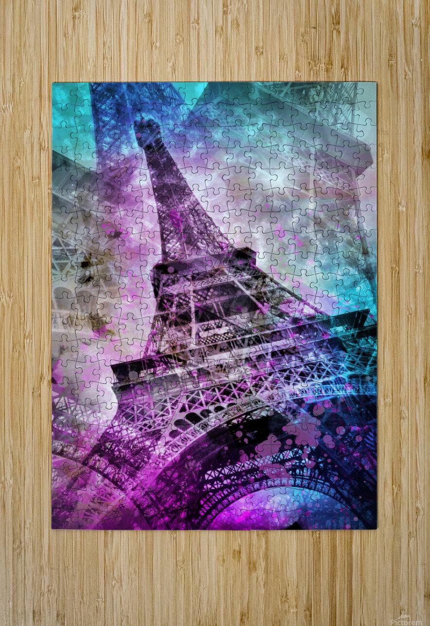 Pop Art Eiffel Tower  Impression métal HD avec cadre flottant sur le dos