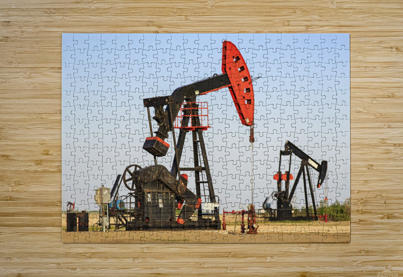 Oil well pump jacks at Bakken Oil Field near Estevan; Saskatchewan, Canada  HD Metal print with Floating Frame on Back