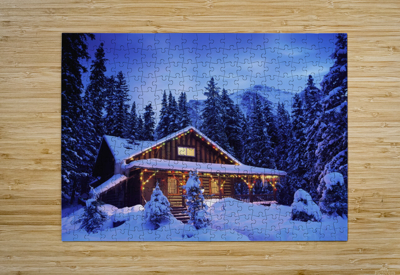 Cabin in the woods illuminated by Christmas lights  HD Metal print with Floating Frame on Back