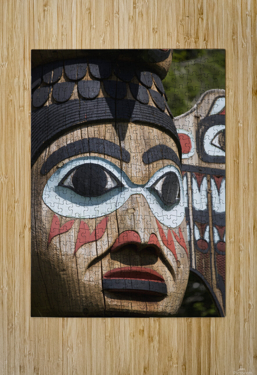 Detail of a figure carved into a Totem Pole, Totem Bight State Historical Park, Ketchikan, Southeast Alaska, USA, Spring  HD Metal print with Floating Frame on Back