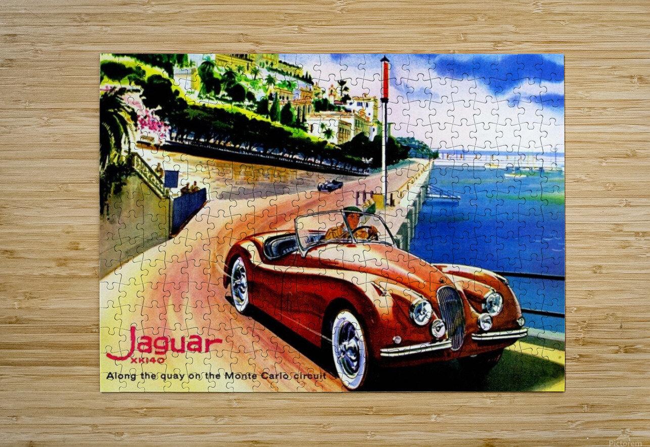 Jaguar Advertising Vintage Poster  HD Metal print with Floating Frame on Back