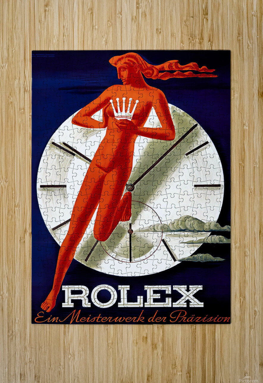 1942 Beyer Zurich Rolex Poster  HD Metal print with Floating Frame on Back