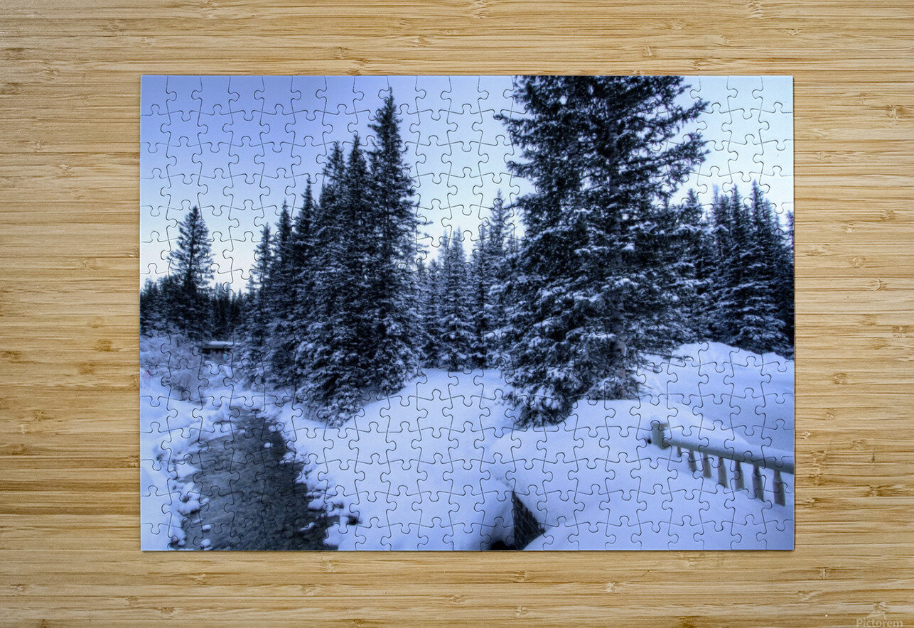 Snowy crossing  HD Metal print with Floating Frame on Back