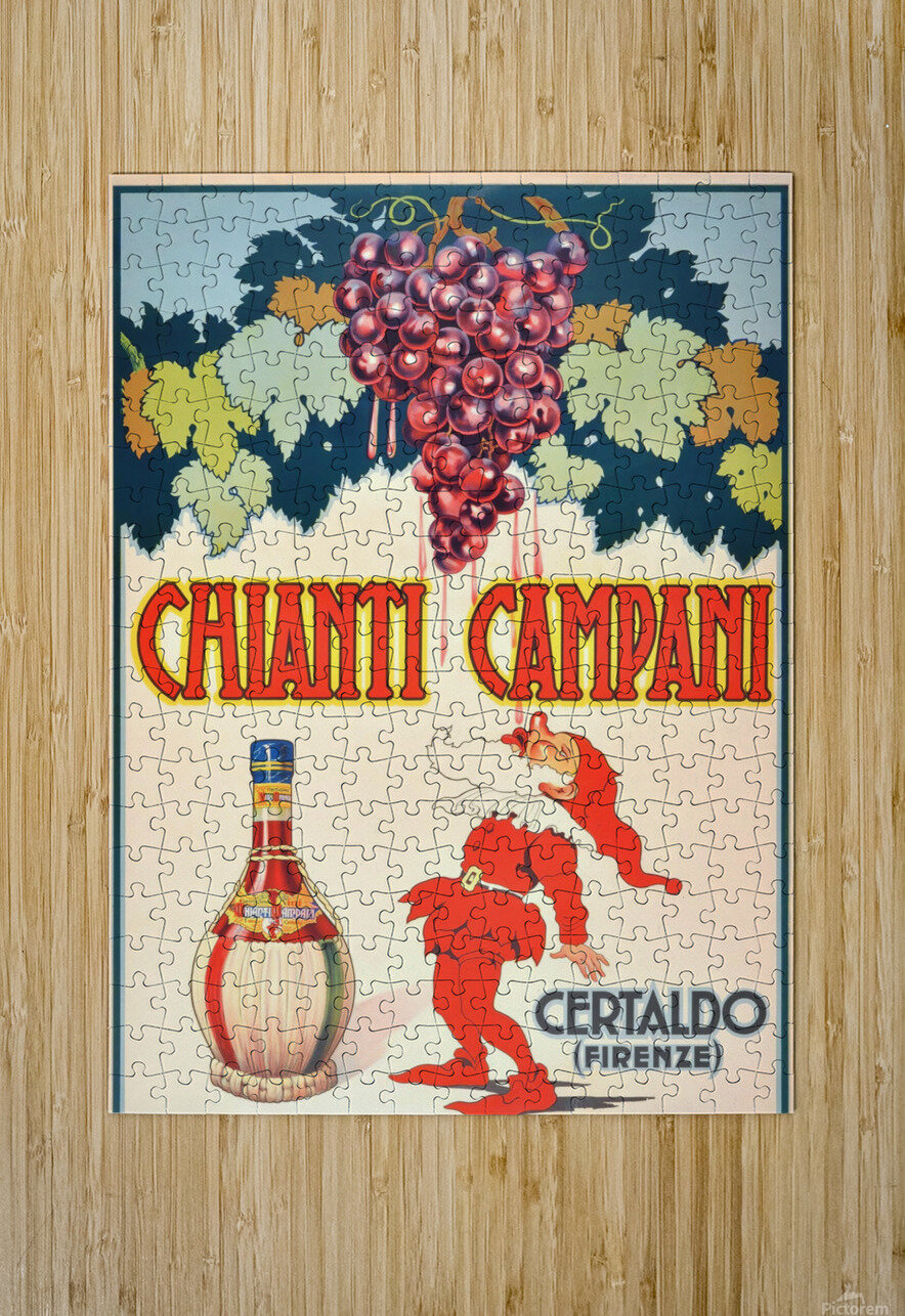 Original Vintage 1940 Advertising Poster For Chianti Campani  HD Metal print with Floating Frame on Back