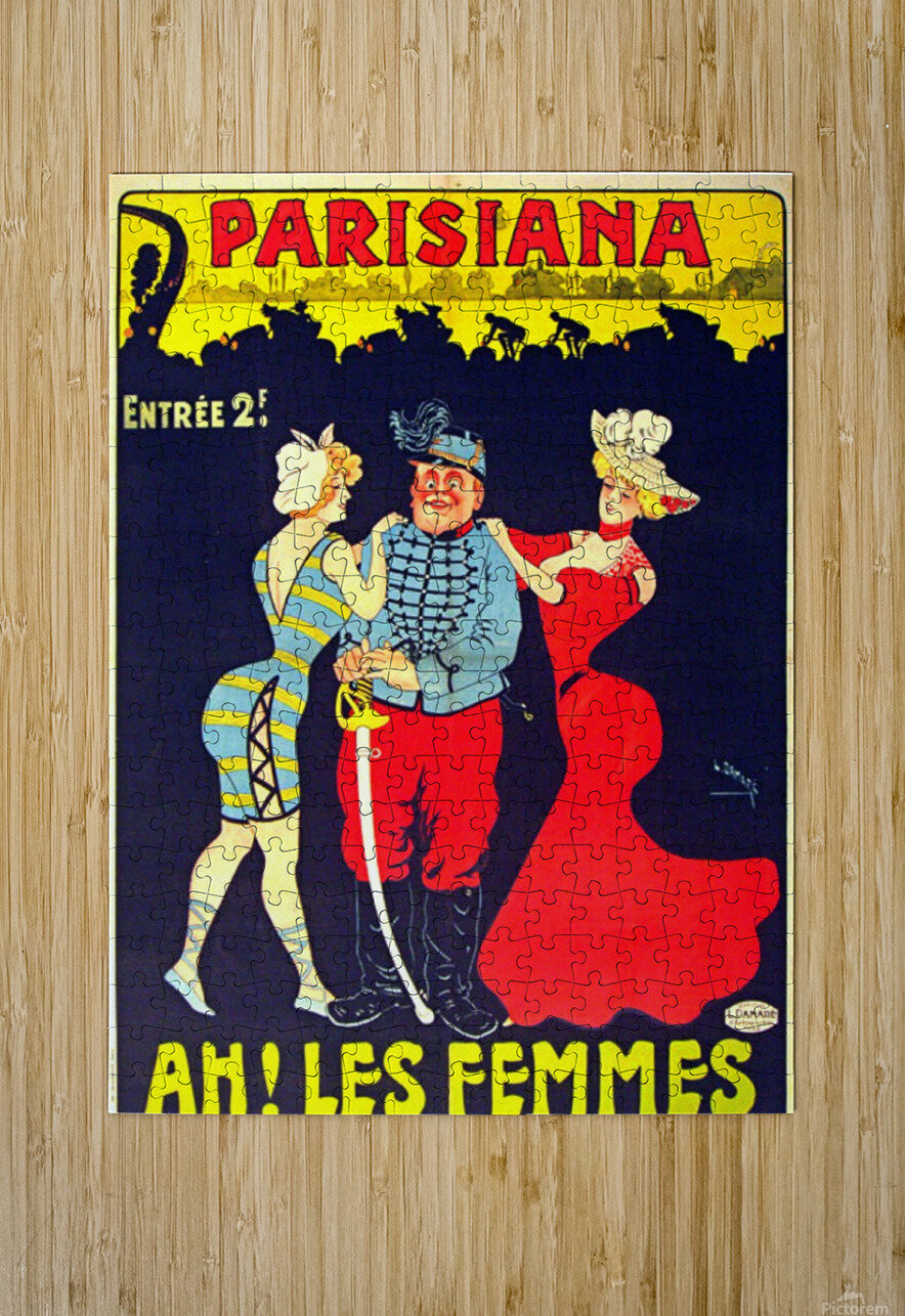 Parisiana Ah Les Femmes poster printed circa 1895  HD Metal print with Floating Frame on Back