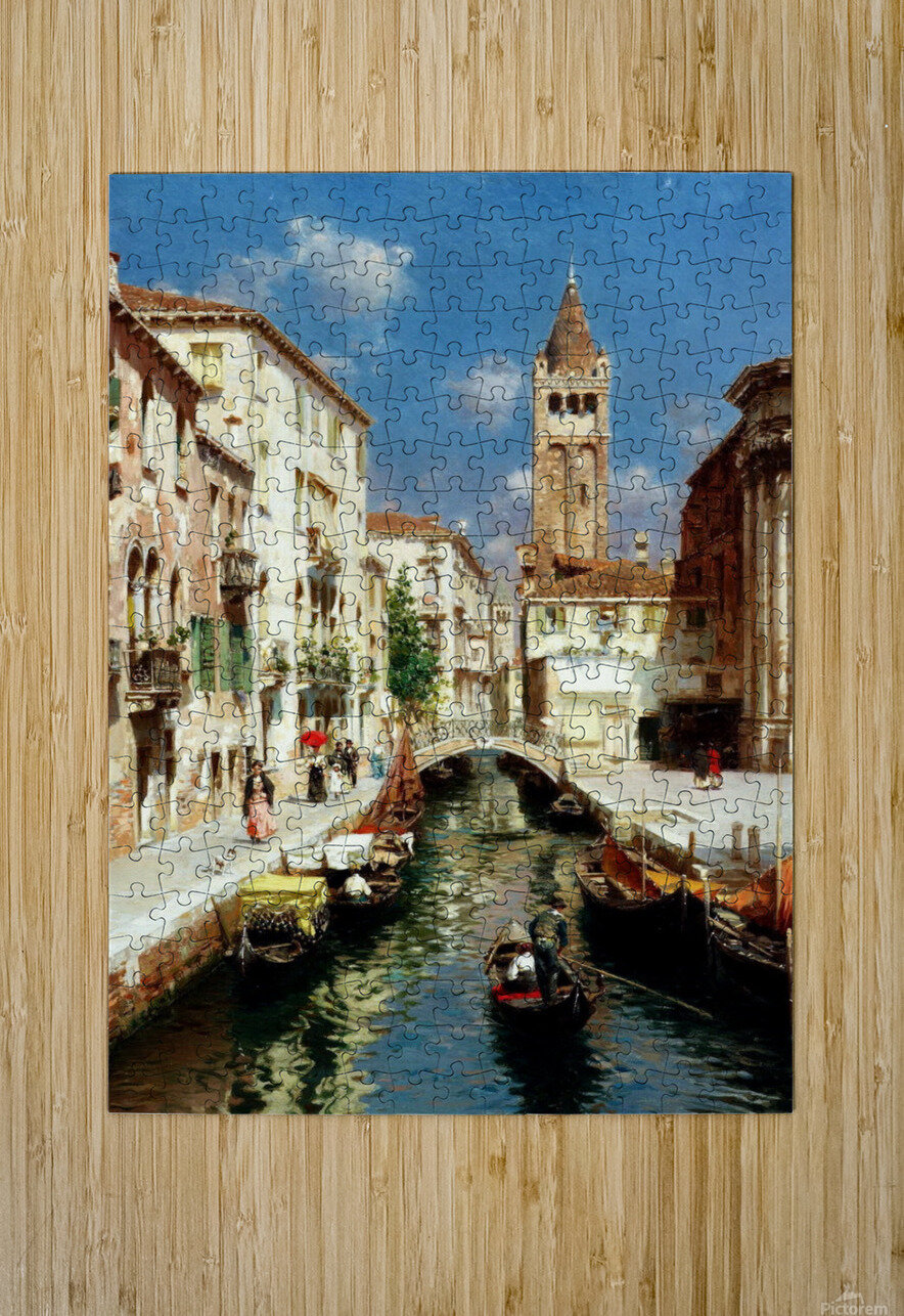 Along Venetian canal  HD Metal print with Floating Frame on Back