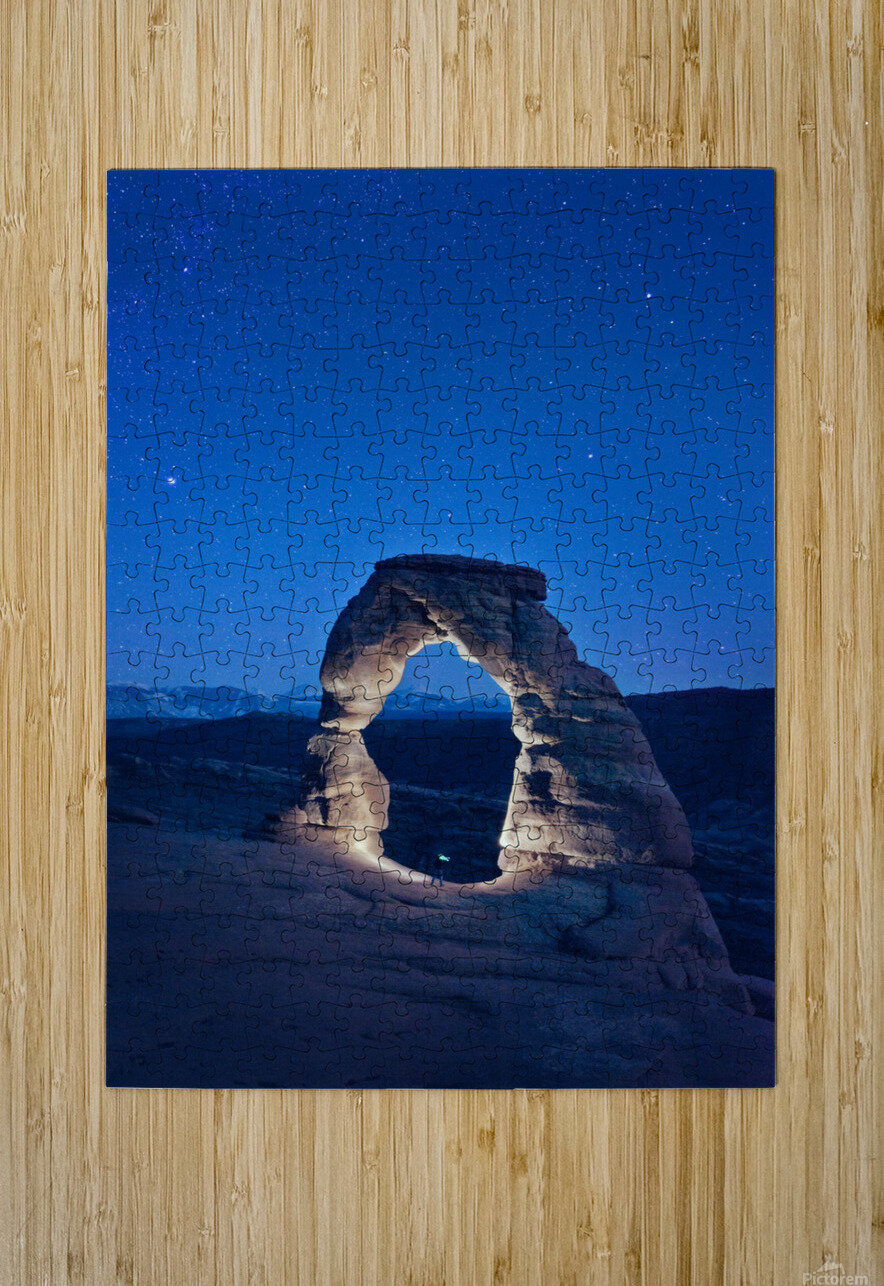 Delicate Arch Night  HD Metal print with Floating Frame on Back